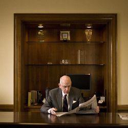 Utah Sen. Robert F. Bennett attends to business in his nearly empty office inside the Dirksen Senate Building on Monday, Nov. 15, 2010 in Washington, D.C.