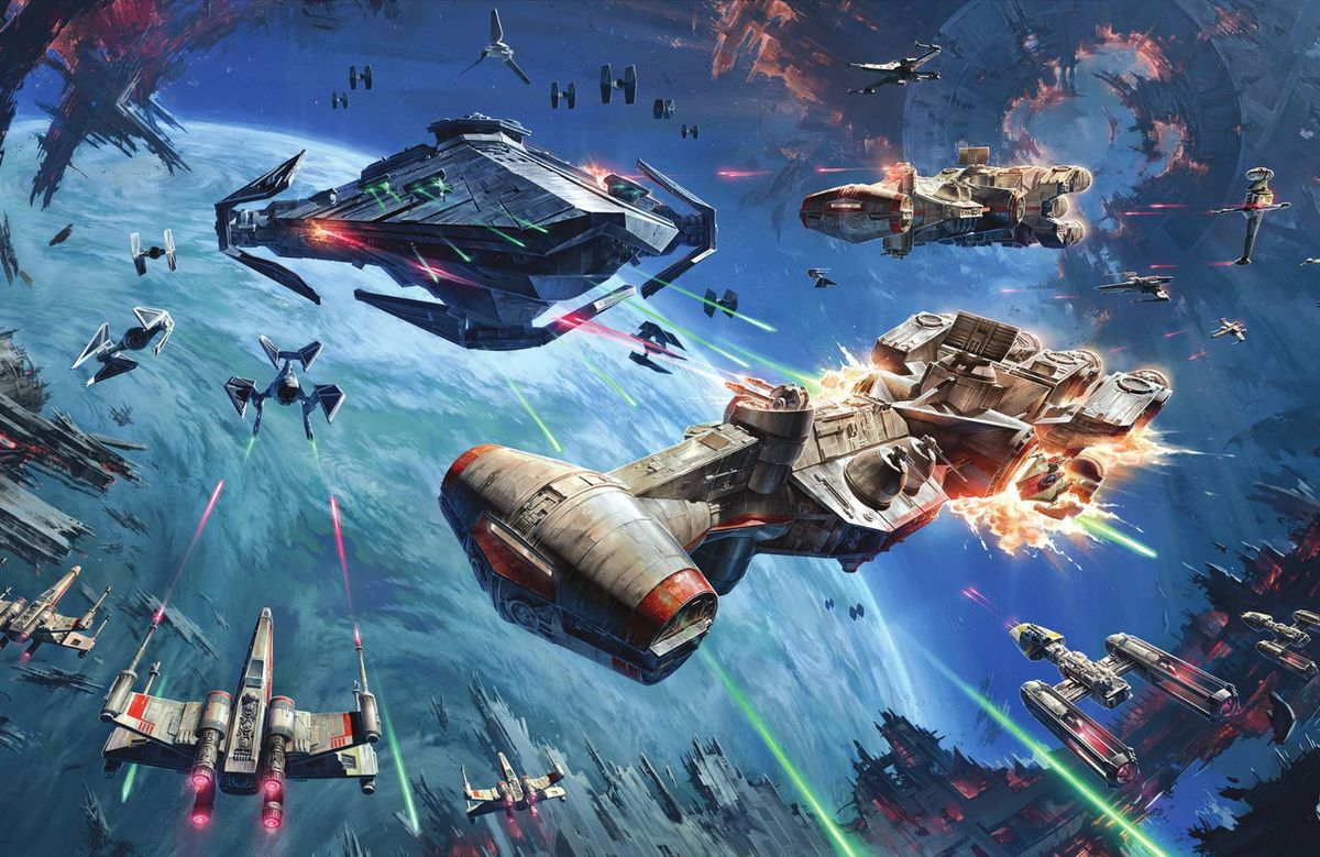 A Corellian Corvette crosses the T in front of an Imperial Raider, and gets torn apart.