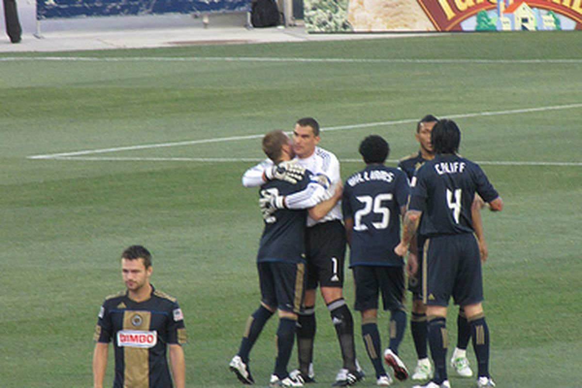 The Philadelphia Union celebrate a goal versus Chivas USA. (Photo courtesy of @BarbcvPhilly)
