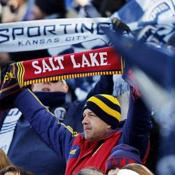 Fans cheer as Real Salt Lake and Sporting KC play Saturday, Dec. 7, 2013 in MLS Cup action.