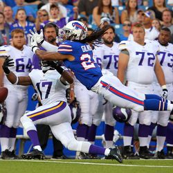 Aug 16, 2013; Orchard Park, NY, USA;  Buffalo Bills cornerback Stephon Gilmore (24) breaks up a pass to Minnesota Vikings wide receiver Jarius Wright (17) during the first half at Ralph Wilson Stadium.