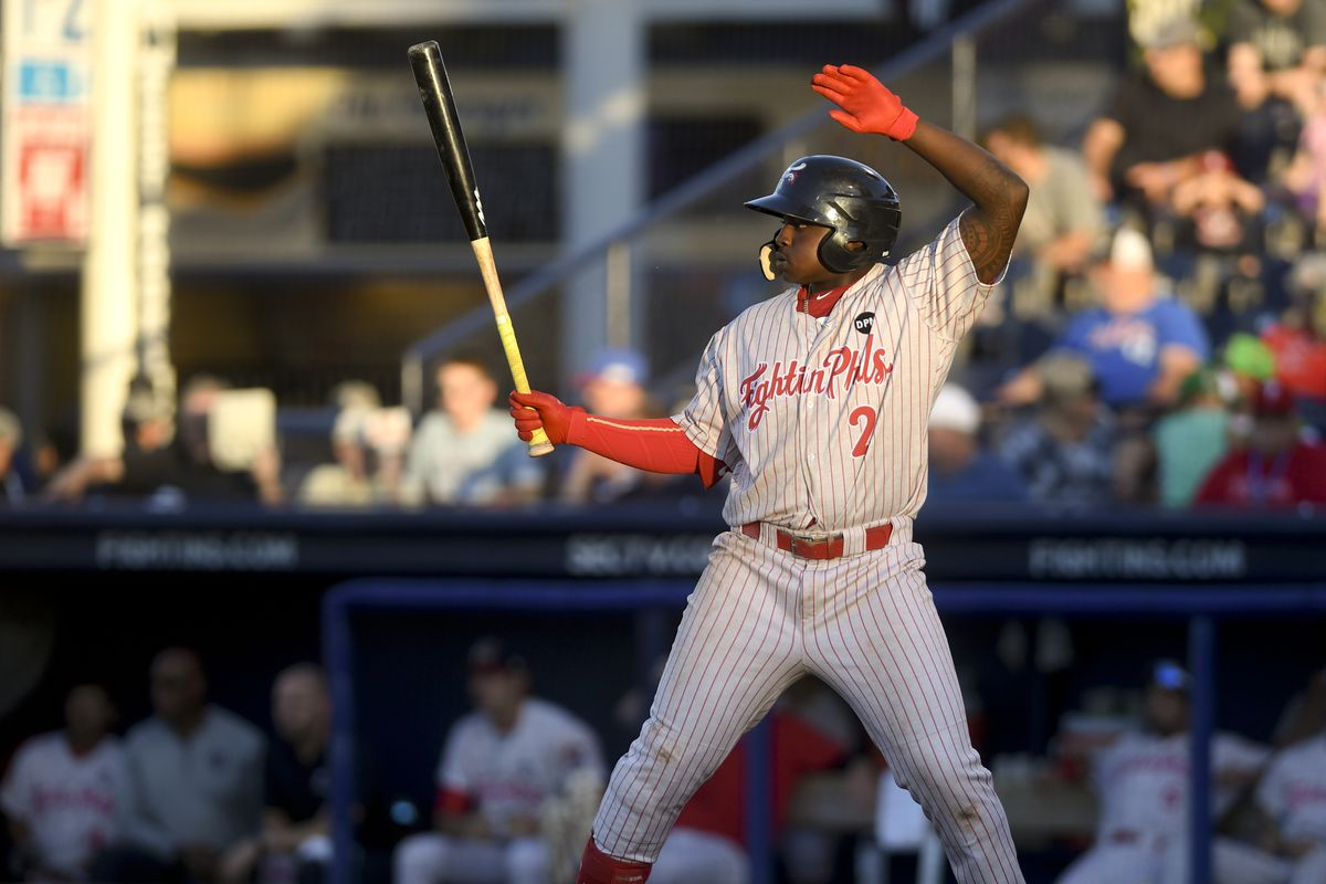 Reading's Cornelius Randolph (2) at bat. The New Hampshire Fisher Cats vs. the Reading Fightin Phils at FirstEnergy Stadium in Reading Friday evening July 1, 2019 for a Double A baseball game. Photo by Ben Hasty