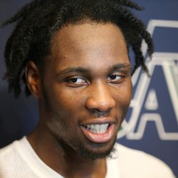 Caleb Swanigan, who once lived in Salt Lake City, talks with media after a workout with the Utah Jazz on Saturday, June 10, 2017.