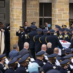Archdiocese of Chicago Cardinal Blase Cupich watches as pallbearers carry the casket for Chicago Police Officer Ella French into St. Rita of Cascia Shrine Chapel for her funeral, Thursday morning, Aug. 19, 2021. Officer French was fatally shot and her partner was critically wounded while in the line of duty on Aug. 7 in West Englewood.