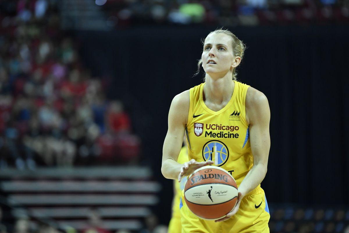 Allie Quigley of the Chicago Sky shoots free throws against the Las Vegas Aces on September 15, 2019 at the Mandalay Bay Events Center in Las Vegas, Nevada.