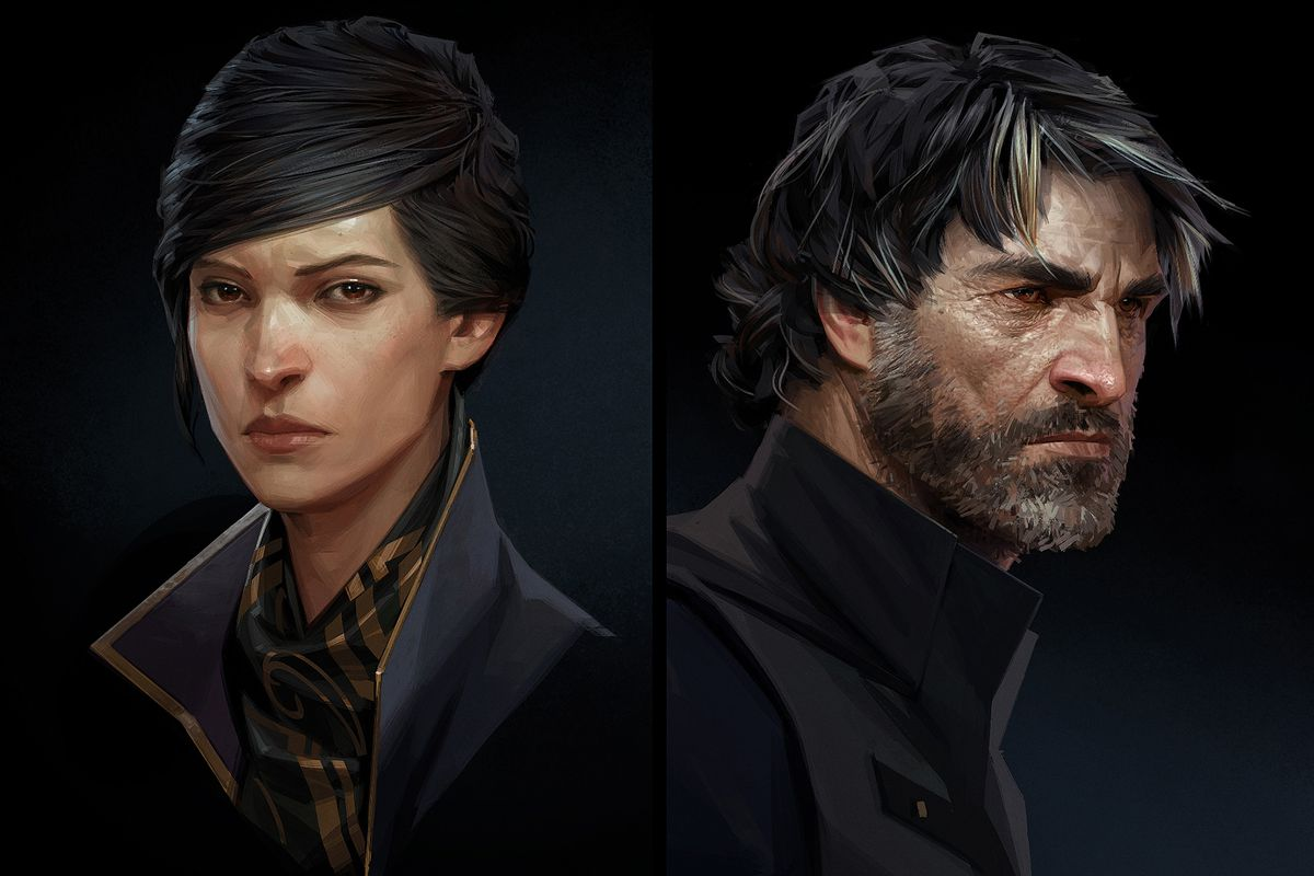 Concept Art Of Emily Kaldwin And Corvo Attano In Dishonored 2 Arkane Studios Bethesda Softworks