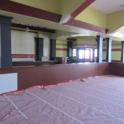 The main dining room and bar at Metro Pizza.