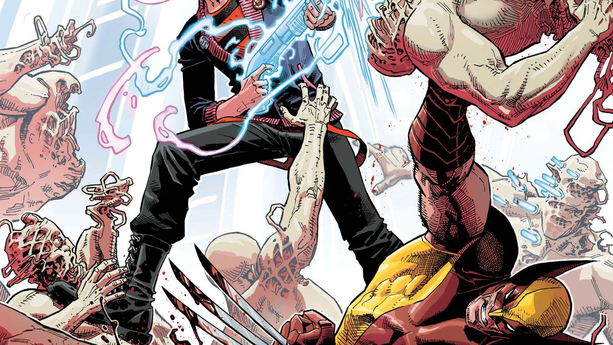 Quentin Quire blasts enemies with his psychic shotgun. Wolverine is also there, I guess, on the cover of X-Force #2, Marvel Comics (2019).