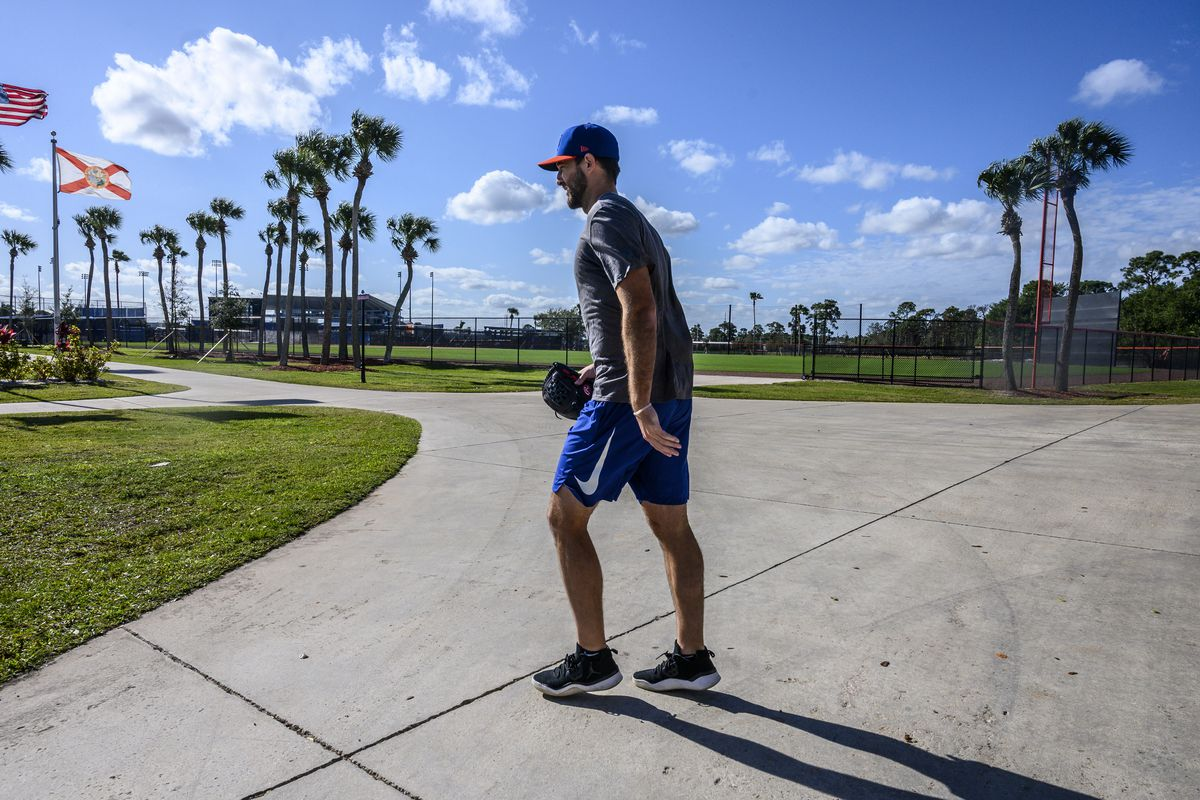 New York Mets pitcher Michael Wacha at spring training camp in Port St. Lucie