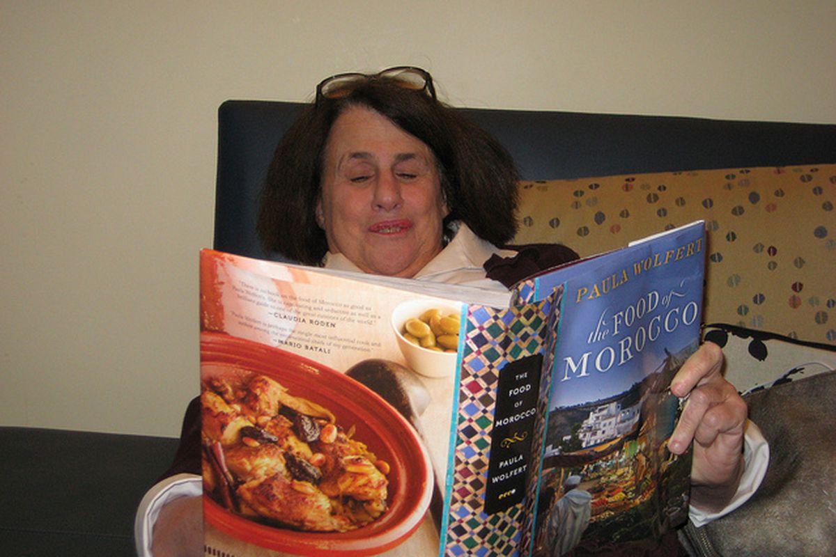 Paula Wolfert reads her own cookbook.