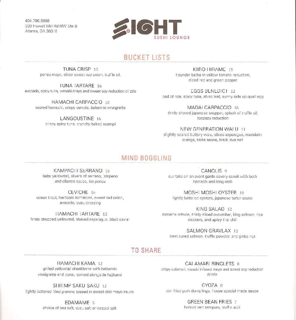 Eight Sushi Lounge menu