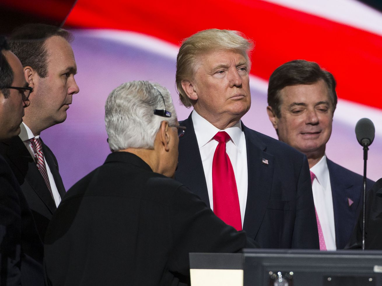 Trump and his then-campaign chair Paul Manafort (right) at the 2016 Republican convention.