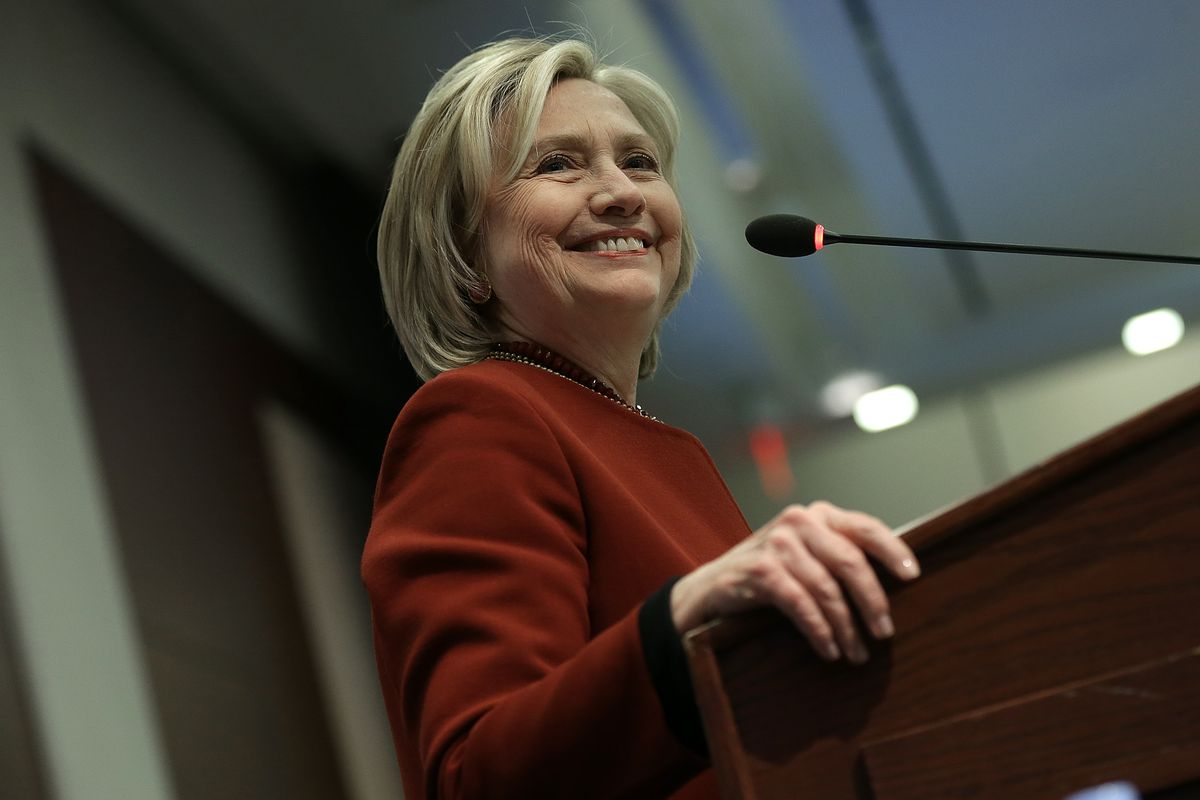 Former U.S. Secretary of State Hillary Clinton speaks at an award ceremony for the 2015 Toner Prize for Excellence in Political Reporting March 23, 2015 in Washington, DC.