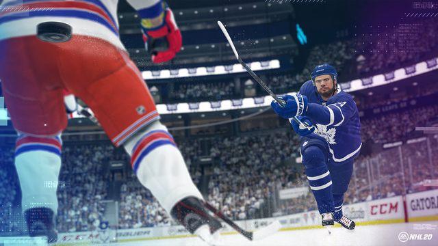 An <em>NHL 20</em> screenshot featuring cover athlete Auston Matthews of the Toronto Maple Leafs<em>.</em>