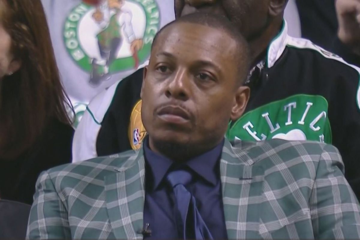 timeless design 10ee0 f128d Paul Pierce's ceremony ruined by 48-minute LeBron James ...