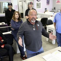 Steve Vincent, owner of Treasure Island Tanning, talks about the struggles small-business owners face due to the COVID-19 pandemic during a press conference at Color My Nails in Midvale on Wednesday, March 25, 2020.