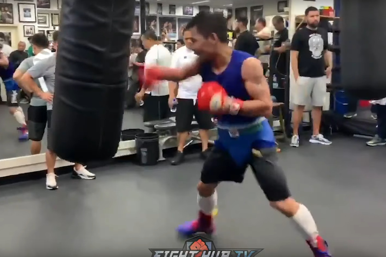 Screen Shot 2019 07 01 at 8.23.57 AM.0 - Pacquiao flashes hand speed in Thurman camp