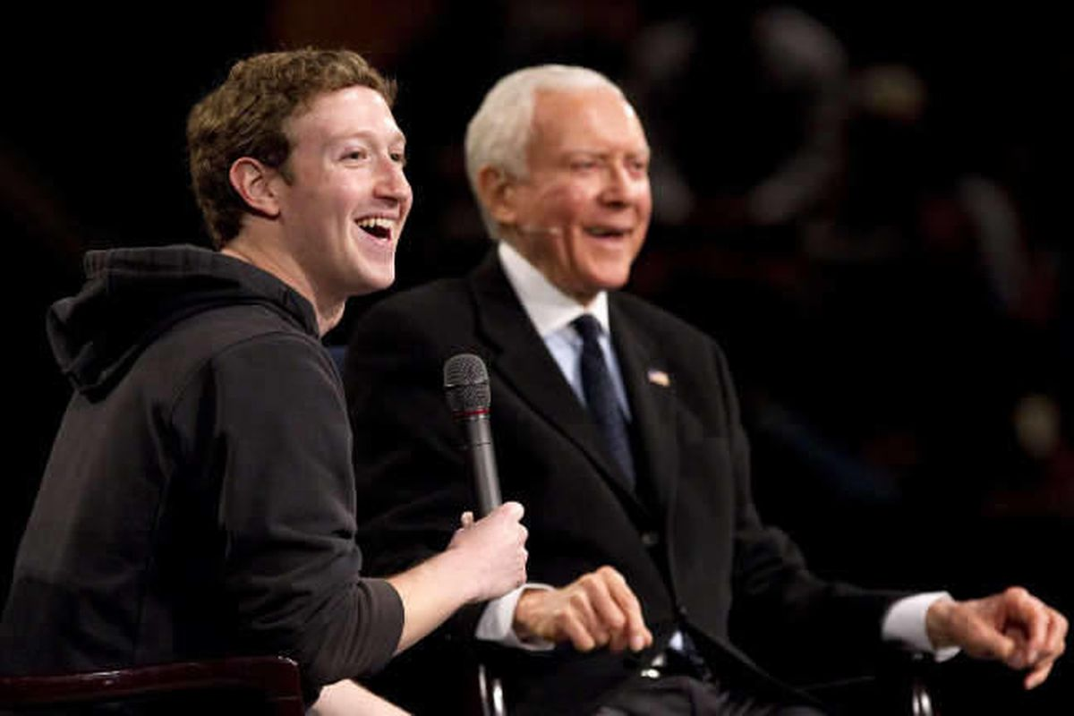 Facebook founder Mark Zuckerberg, left and Sen. Orrin Hatch to talk technology, policy at BYU March 25, 2011.