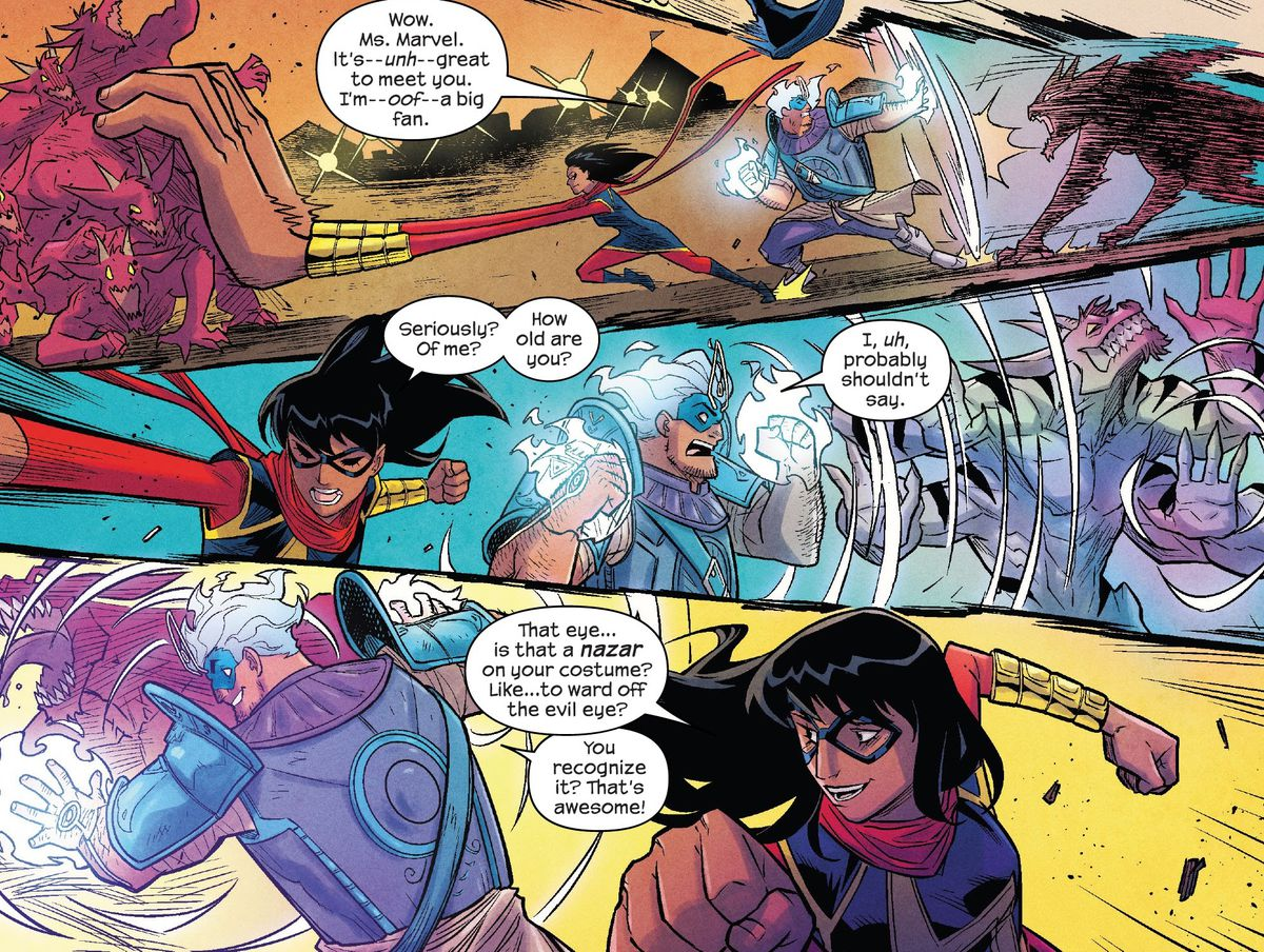Ms. Marvel and Amulet battle four-armed wolf demons. He tells her he's a big fan, and she recognizes the nazar motif on his costume, in The Magnificent Ms. Marvel #13, Marvel Comics (2020).