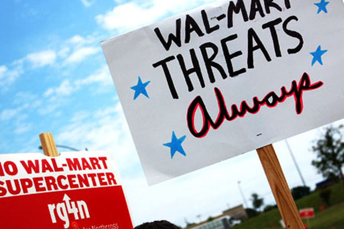 """An anti-Walmart protest in Texas.  Image via <a href=""""http://www.flickr.com/photos/austins_only_paper/505037950/"""">That Other Paper</a>/Flickr"""