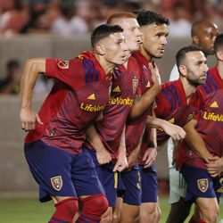 Real Salt Lake players line up for a Colorado Rapids penalty kick at Rio Tinto Stadium in Sandy on Saturday, July 24, 2021. Real won 3-0.