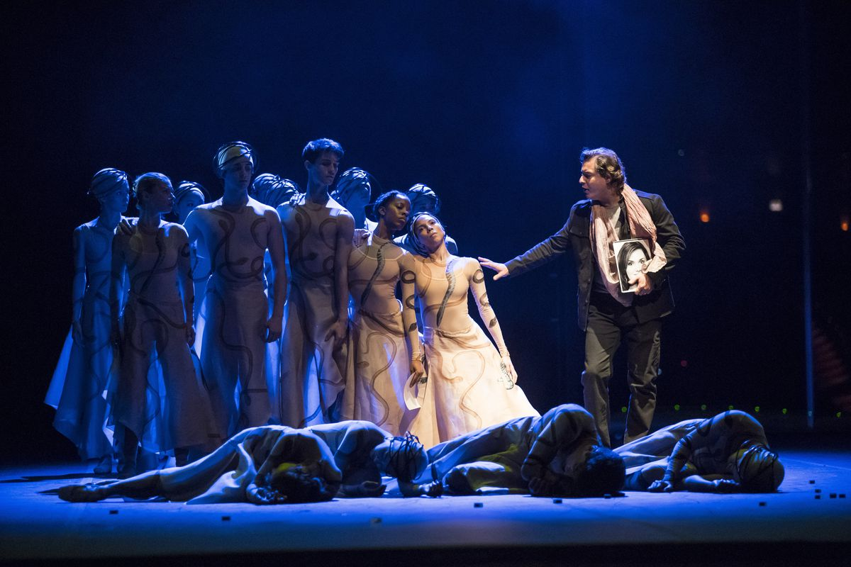 """Dmitry Korchak as Orphee, with dancers of the Joffrey Ballet in the Lyric Opera production of """"Orphee et Eurydice."""" (Todd Rosenberg Photography)"""
