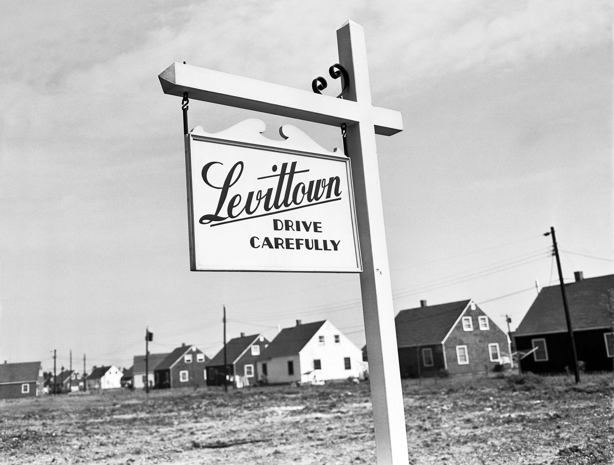 A road sign in a new residential suburb built in 1947.
