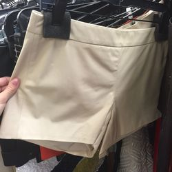 Sample cream leather shorts, $99