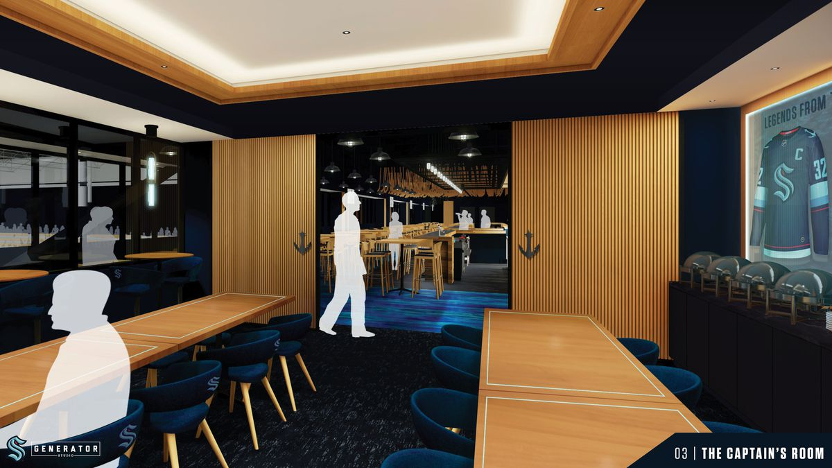 """A computer rendering shows a lounge at the Kraken Bar & Grill called """"The Captain's Room,"""" with anchor logos displayed on the light wood walls and a Seattle Kraken jersey displayed in a glass case to the right."""
