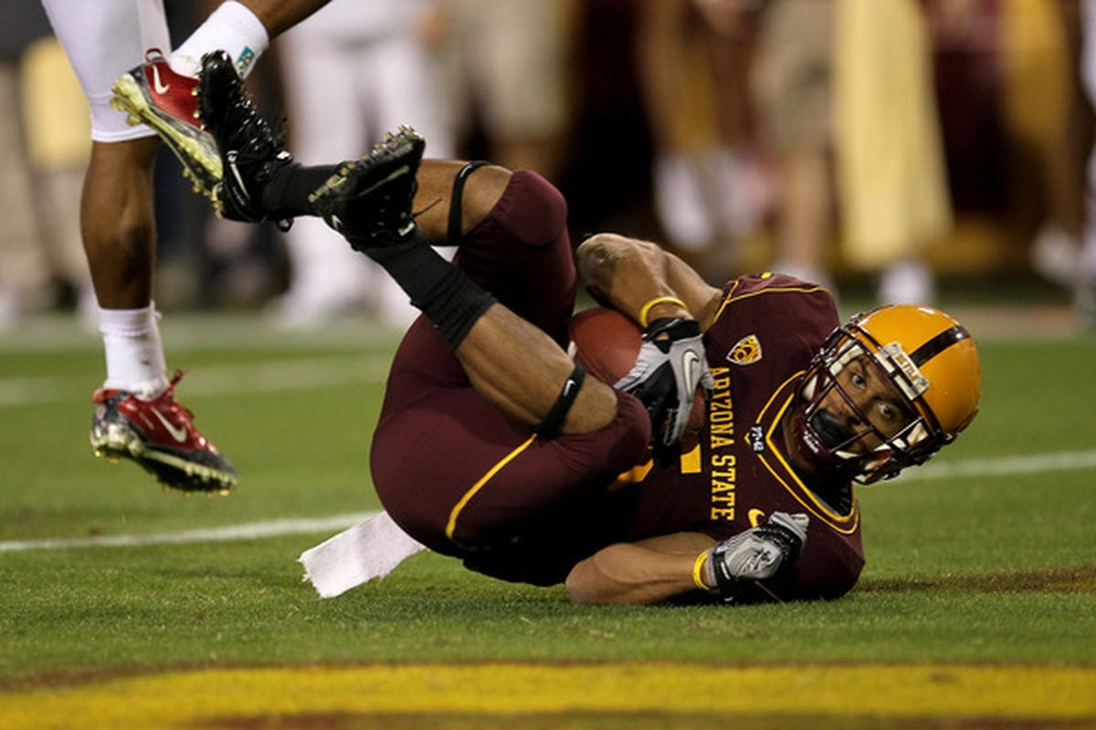 TEMPE AZ - NOVEMBER 13:  Wide receiver Kerry Taylor #5 of the Arizona State Sun Devils scores a touchdown against the Stanford Cardinal at Sun Devil Stadium on November 13 2010 in Tempe Arizona. (Photo by Stephen Dunn/Getty Images)