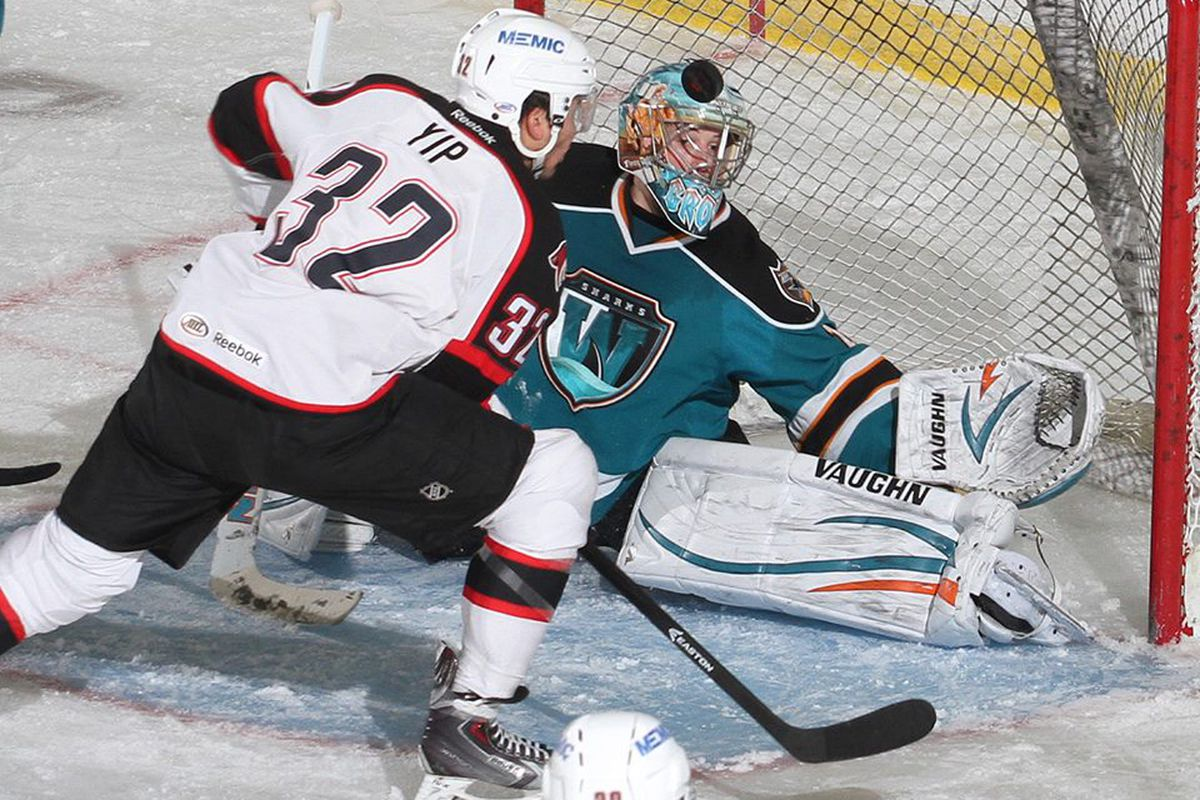 Worcester Sharks rookie goaltender Troy Grosenick makes one of his 27 saves Wednesday night as he robs Portland Pirates forward Brandon Yip of a goal during the first period.