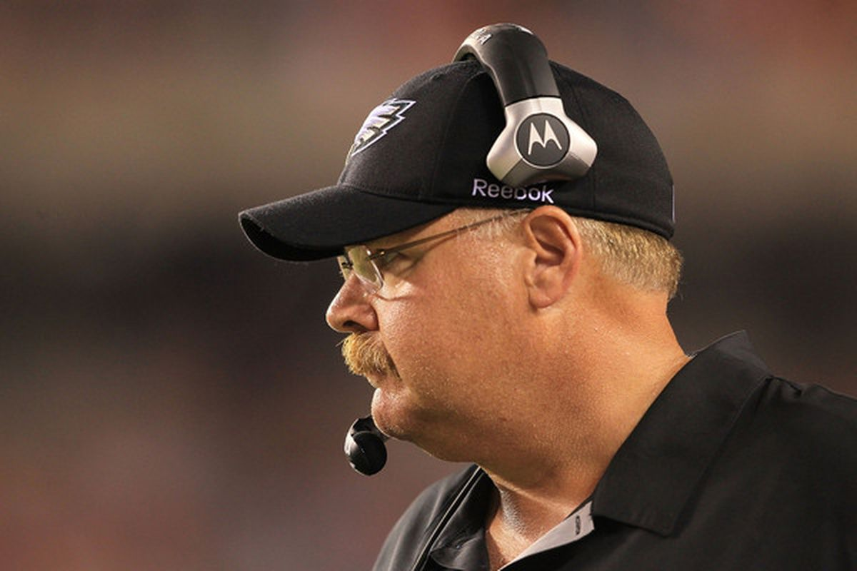 CINCINNATI - AUGUST 20:  Andy Reid the Head coach of the Philadelphia Eagles is pictured during the NFL preseason game against the Cincinnati Bengals at Paul Brown Stadium on August 20 2010 in Cincinnati Ohio.  (Photo by Andy Lyons/Getty Images)
