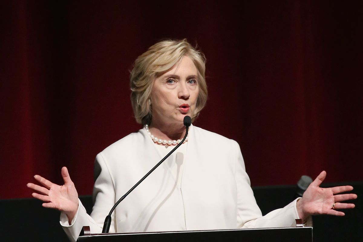 Former United States Secretary of State Hillary Clinton speaks on stage at AOL's MAKERS: Once And For All Premiere at the DOC NYC on November 19, 2015, in New York City.