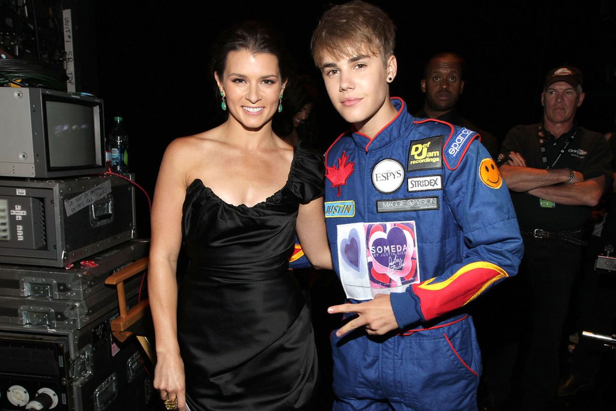 LOS ANGELES, CA - JULY 13:  Professional race car driver Danica Patrick and singer Justin Bieber attend The 2011 ESPY Awards at Nokia Theatre L.A. Live on July 13, 2011 in Los Angeles, California.  (Photo by Christopher Polk/Getty Images for ESPN)