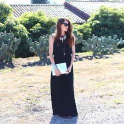 """Samantha of <a href=""""http://couldihavethat.blogspot.com/"""">Could I Have That?</a> is wearing a <a href=""""http://www.shoshanna.com/shop/dresses/joyce-maxi-dress-4"""">Shoshanna</a> maxi dress, <a href=""""http://www.urbanoutfitters.com/urban/catalog/productdetail."""