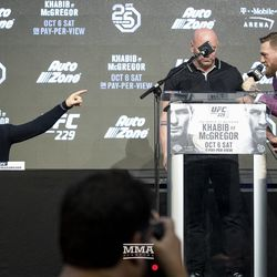 Khabib Nurmagomedov and Conor McGregor go back and forth Thursday at the UFC 229 press conference in New York at Radio City Music Hall.