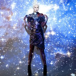 Vivienne Westwood Space Age dress, $485; Jeffrey Campbell Thunder platform, $152