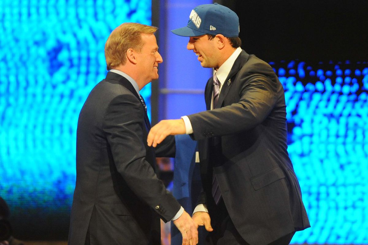 Apr 26, 2012; New York, NY, USA; NFL commissioner Roger Goodell introduces quarterback Andrew Luck (Stanford) as the first overall pick of the 2012 NFL Draft at Radio City Music Hall. Mandatory Credit: James Lang-US PRESSWIRE