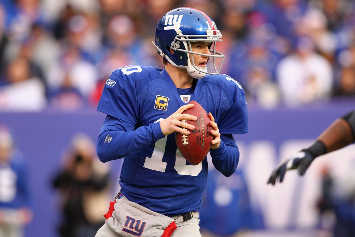 Eli Manning (10) of the New York Giants looks to pass in the first quarter against the Atlanta Falcons during their NFC Wild Card Playoff game at MetLife Stadium on January 8, 2012 in East Rutherford, New Jersey.  (Photo by Al Bello/Getty Images)