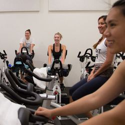 Group one hit the cycling room for the first half of their Ride & Shred sesh.