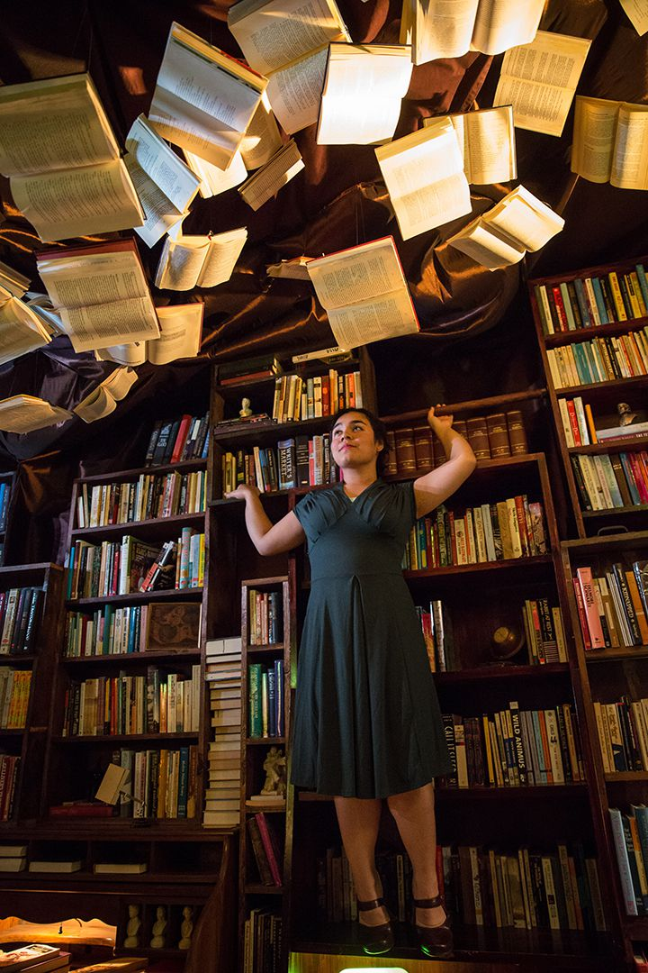 """Maria Velazquez plays the librarian in Albany Park Theater Project's """"Learning Curve."""" (Photo: Liz Lauren)"""