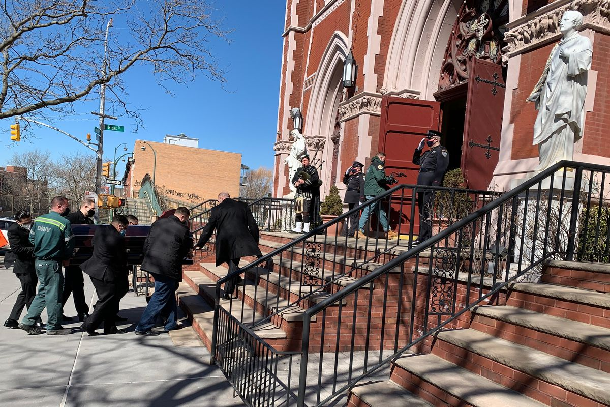 A funeral was held in Carroll Gardens, Brooklyn for a Department of Sanitation worker who died from the coronavirus, March 8, 2021.