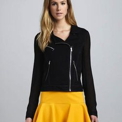 """A great moto jacket for under $300? No brainer. It may not seem like the most seasonal piece, but considering Chicago's track record, it may come in handy this month. $255, <a href=""""http://www.cusp.com/product.jsp?rte=%252Fetemplate%252Fp6E.jsp%253Fparent"""