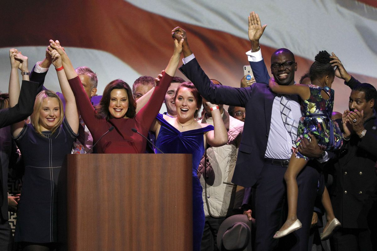 Gretchen Whitmer spoke at a Democratic election night party in Detroit. Whitmer defeated Republican Bill Schuette, but she'd have to work with a GOP-dominated house to make good on her campaign promise of school finance reform.