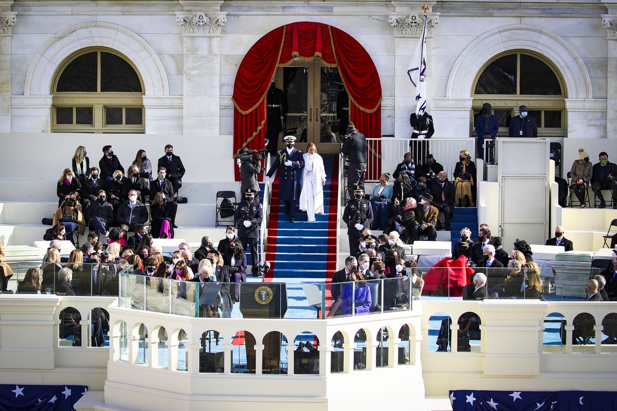 Jennifer Lopez arrives to sing during the inauguration.