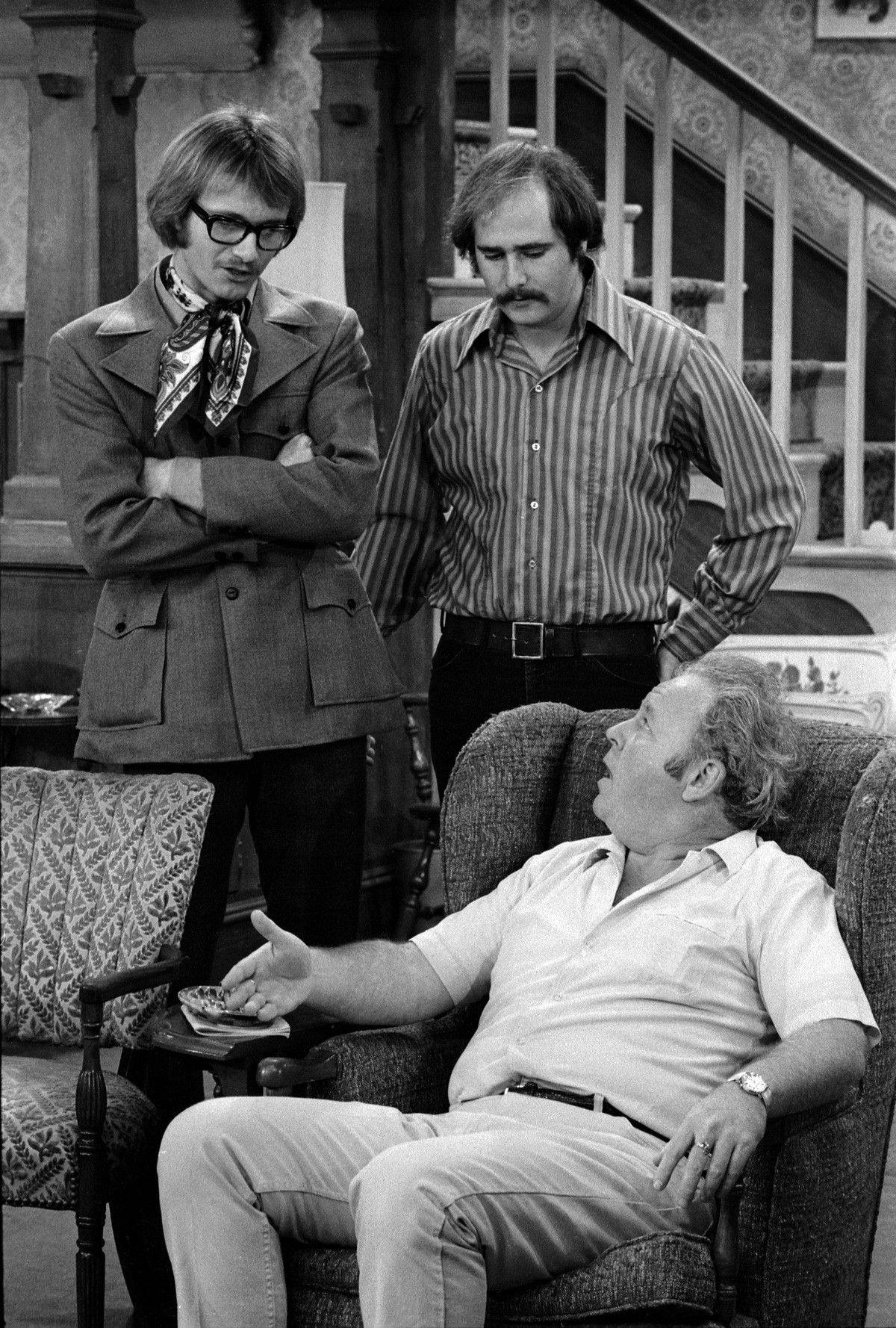 'All in the Family' episode: 'Judging Books by Covers,' featuring (from left) Anthony Geary as Roger, Rob Reiner as Michael Stivic, and Carroll O'Connor (seated) as Archie Bunker (CBS via GettyImages)