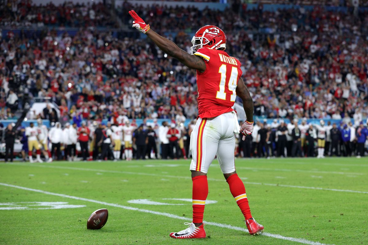 Sammy Watkins of the Kansas City Chiefs reacts against the San Francisco 49ers in Super Bowl LIV at Hard Rock Stadium on February 02, 2020 in Miami, Florida.