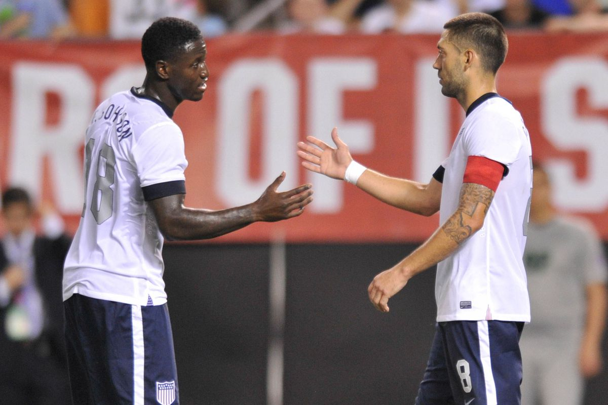 Dempsey shaking hands with US and now Sounders teammate Eddie Johnson