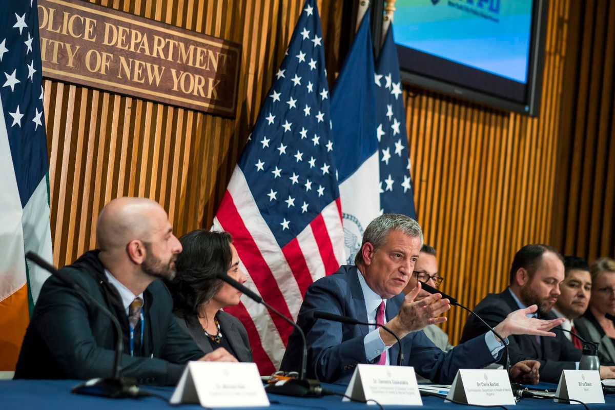 Mayor Bill de Blasio and other officials hold a briefing at NYPD headquarters on the coronavirus.