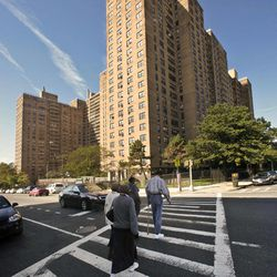 Ebbets Field Apartments, once home to the Brooklyn Dodgers and now home to thousands, is viewed from where second base would have been, Wednesday, Sept. 19, 2012 in Brooklyn, N.Y.  After decades without a professional sports team following the Dodgers move west, Brooklyn is hitting the major leagues again with a new arena and the Brooklyn Nets' NBA franchise.